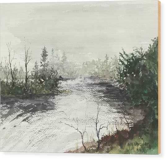 Red River Rapids Wood Print