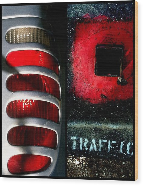 Red Road Rage Wood Print