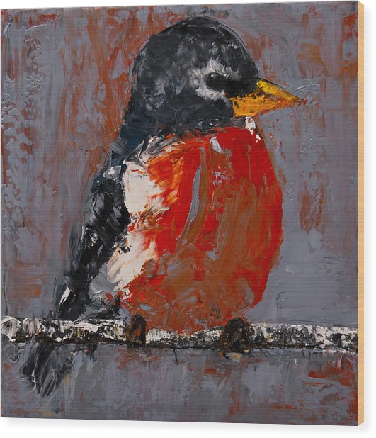 Wood Print featuring the painting Red Robin by Jani Freimann