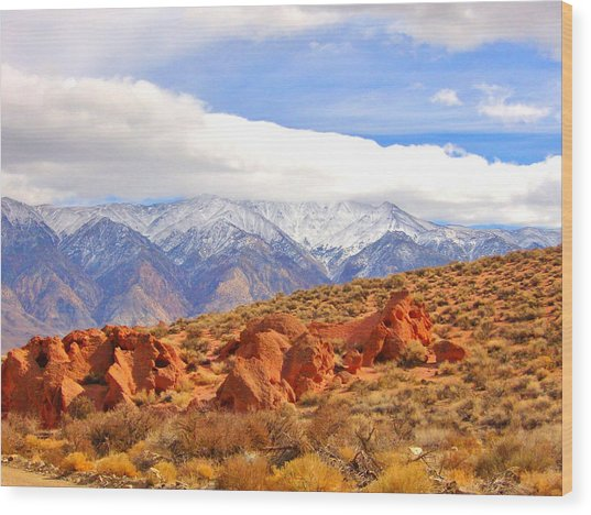 Red Rock And Desert Wood Print