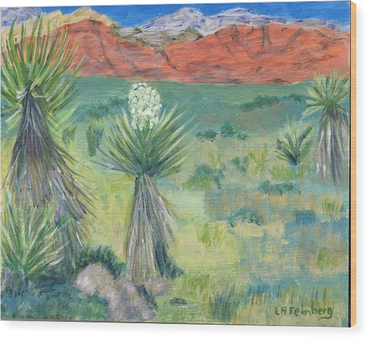 Red Rock Canyon With Yucca Wood Print
