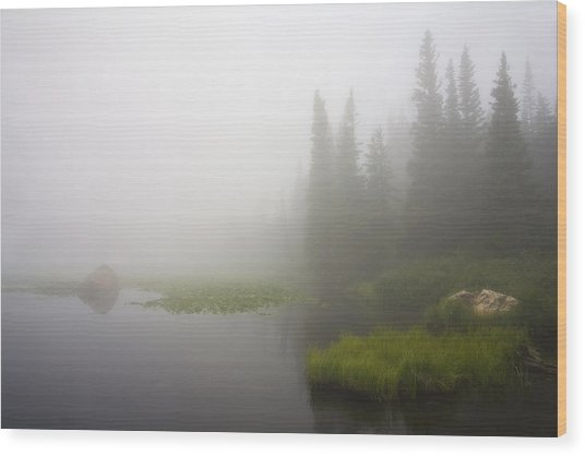Red Rock Lake And Fog Wood Print
