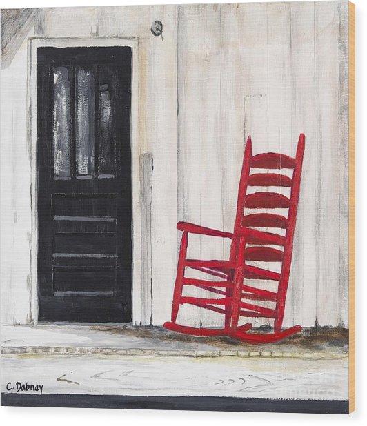 Red Rocker Wood Print by Carla Dabney