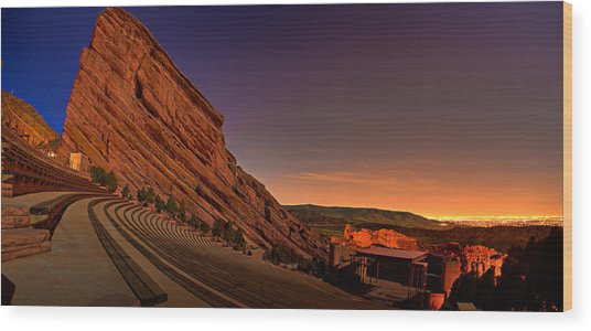 Red Rocks Amphitheatre At Night Wood Print