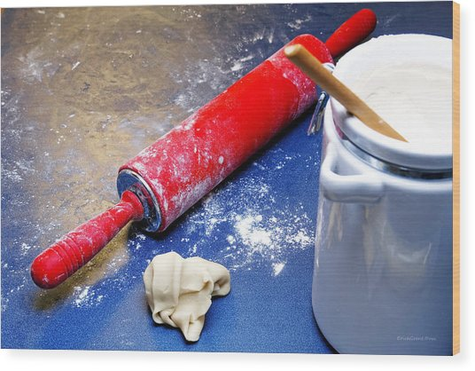 Red Rolling Pin Wood Print