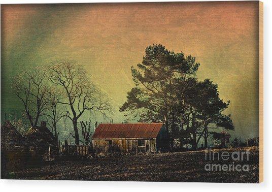 Red Roof Landscape Wood Print