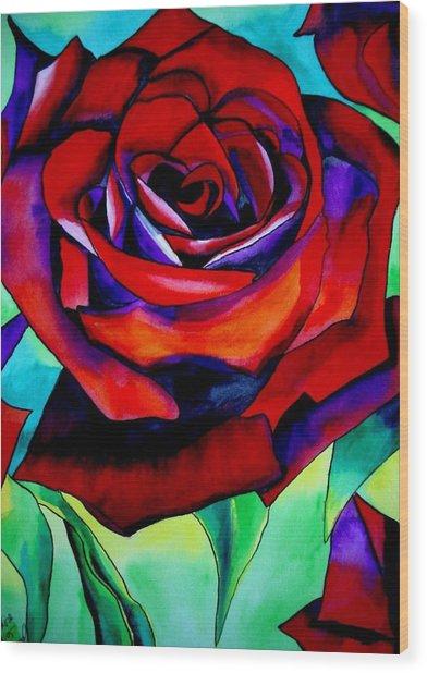 Red Rose Macro 2 Wood Print by Sacha Grossel