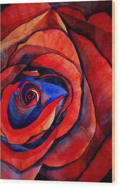 Red Rose Macro Wood Print by Sacha Grossel