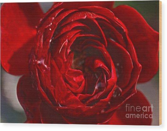 Red Rose Wood Print by Nur Roy