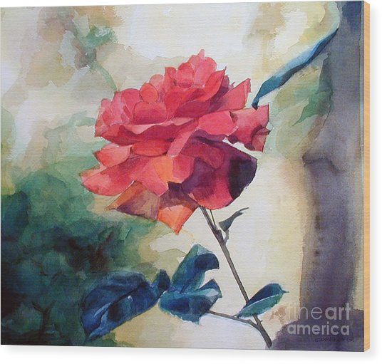 Watercolor Of A Single Red Rose On A Branch Wood Print