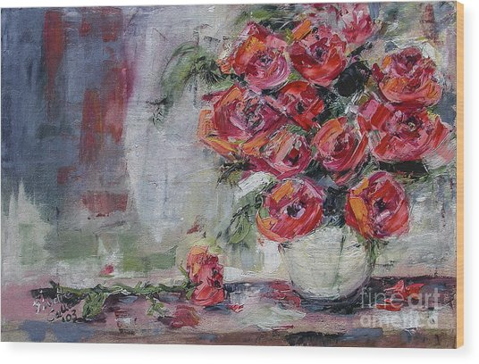 Red Roses Still Life Wood Print