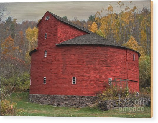 Red Round Barn Wood Print