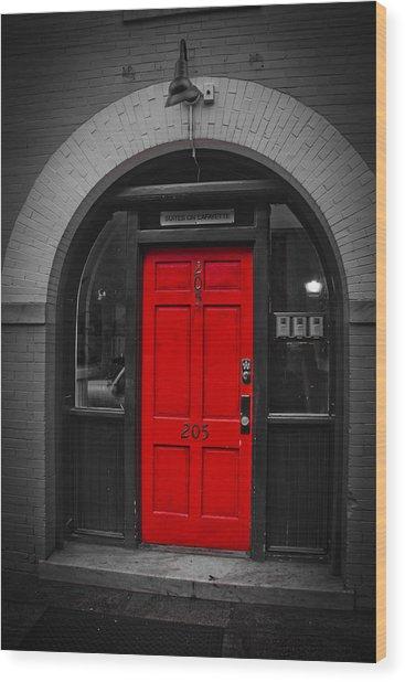 Behind The Red Door Wood Print