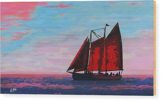 Red Sails On The Chesapeake Wood Print