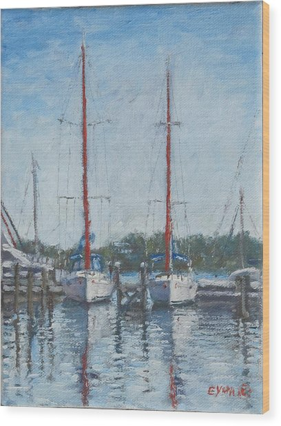 Red Sails Under Gray Sky Wood Print