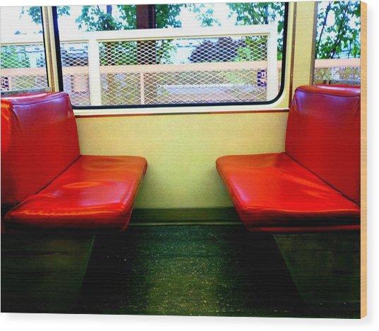 Red Seats Transportation Wood Print