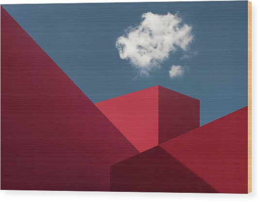 Red Shapes Wood Print by Hugo Borges