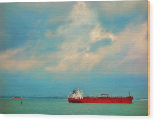 Red Ship In Oils Wood Print
