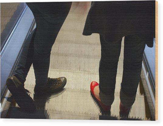 Red Shoe On Escalator Wood Print