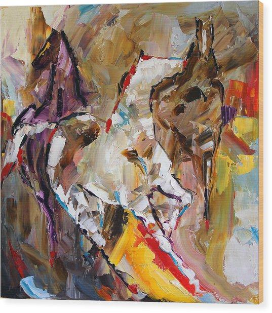 Red Shoed Ponies Wood Print