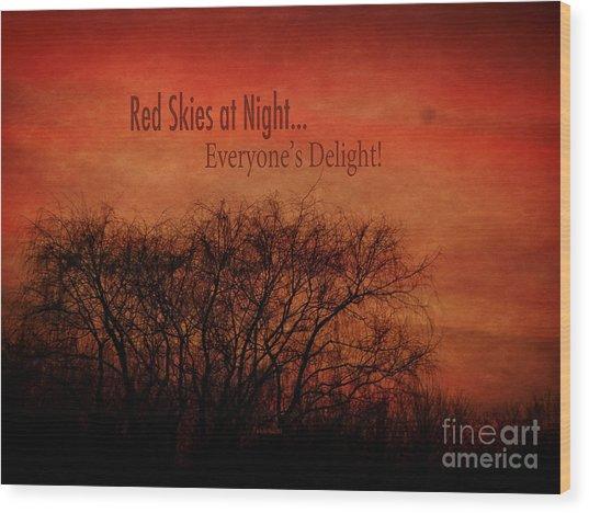 Red Skies Wood Print