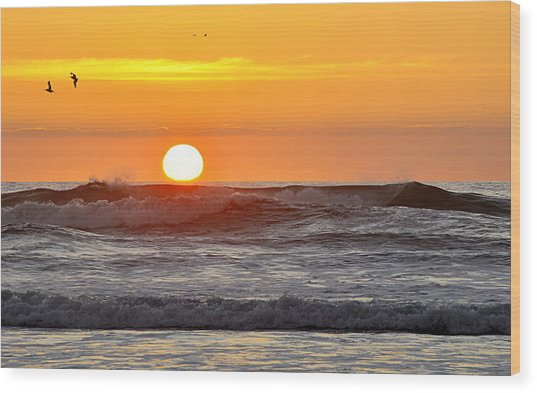 Red Sky At Night Sailors  Delight Wood Print