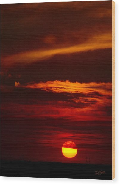 Red Sky At Night Vertical Wood Print