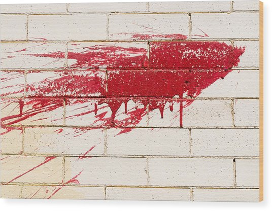 Red Splash On Brick Wall Wood Print