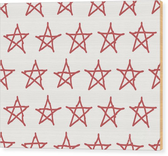 Red Stars Vector Textile Backdrop. Can Wood Print