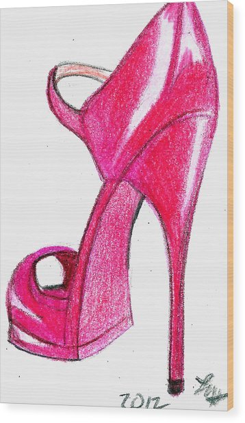 Red Stiletto Wood Print