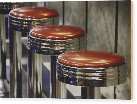 Red Stools Wood Print