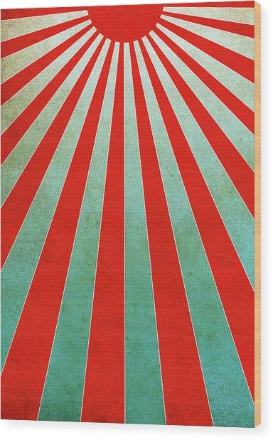 Red Sunbeams Illustration Wood Print
