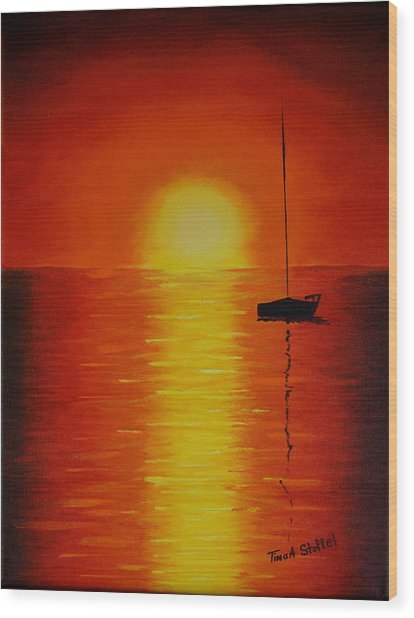 Red Sunset 1 Wood Print by Tina Stoffel