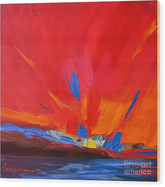 Red Sunset, Modern Abstract Art Wood Print