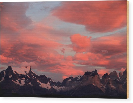 Red Sunset At Torres Del Paine Wood Print by Arie Arik Chen