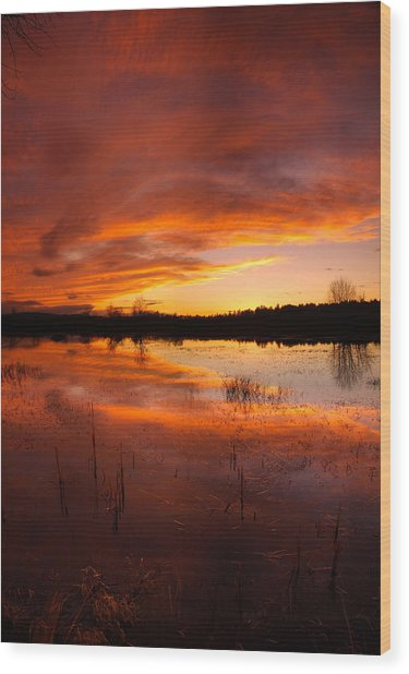 Red Sunset Over Massabesic Lake Wood Print