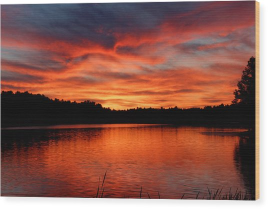 Red Sunset Reflections Wood Print