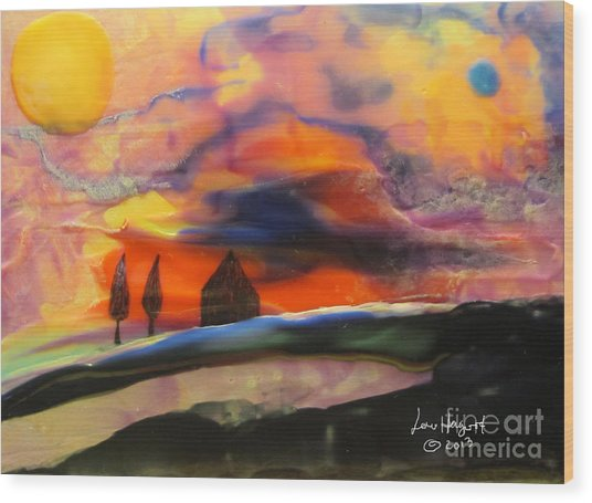 Red Sunset With Building Wood Print