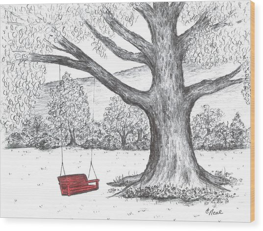 Red Swing Wood Print