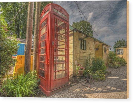 Red Telephone Box Wood Print