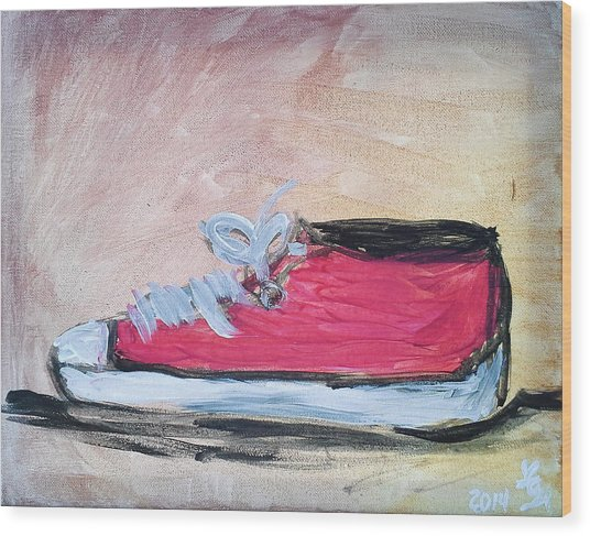 Red Tennis Shoe Wood Print