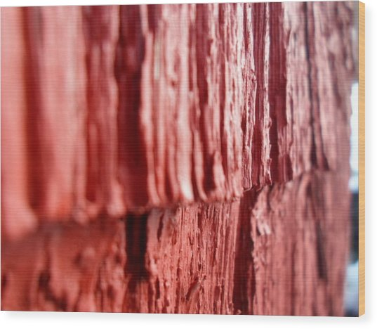 Red Texture Wood Print by Jenna Mengersen