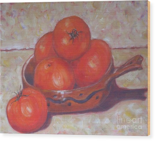 Red Tomatoes In A Dish Wood Print by Paris Wyatt Llanso