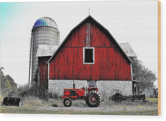 Red Tractor - Canada Wood Print