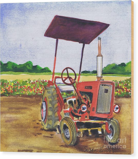 Red Tractor At Rottcamp's Farm Wood Print by Susan Herbst