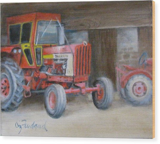 Red Tractor Wood Print