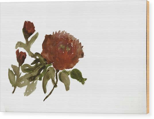 Red Tree Peony Wood Print by Lesley Rigg