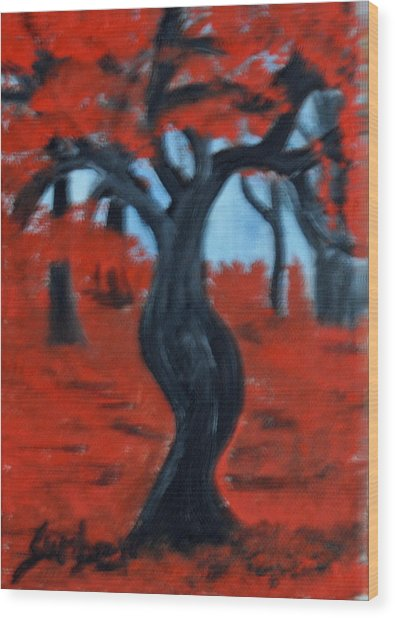 Red Trees Wood Print