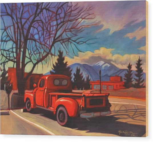 Red Truck Wood Print