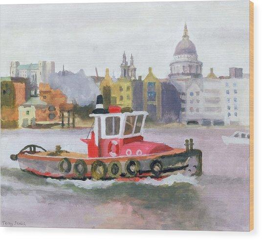Red Tug Passing St. Pauls, 1996 Wood Print
